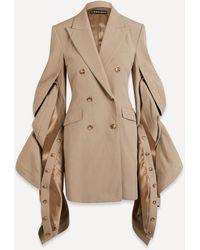 Y. Project Ruffle-sleeve Blazer Dress - Natural