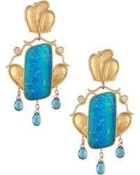 Kojis - Gold Caroline Strieb Opal And Diamond Drop Earrings - Lyst