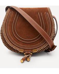 Chloé Marcie Mini Suede Saddle Bag - Brown
