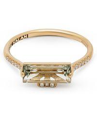 Suzanne Kalan Gold Baguette Cut Green Amethyst And Diamond Ring - Metallic