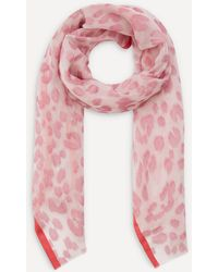 Paul Smith Leopard Fil Coupe Silk-blend Scarf - Pink