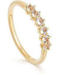Astley Clarke Gold Plated Vermeil Silver Linia Rainbow Moonstone Ring - Metallic