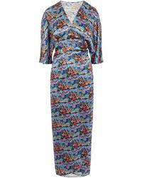 Liberty Dina Silk Wrap Dress - Blue