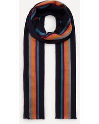 Paul Smith Artist Stripe Herringbone Wool-blend Scarf - Blue