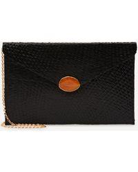 Kayu Capri Straw Envelope Clutch Bag - Black