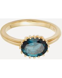 Astley Clarke Gold Plated Vermeil Silver Large Linia London Blue Topaz Ring - Metallic