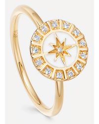 Astley Clarke Gold Plated Vermeil Silver Celestial White Enamel Astra Ring - Metallic