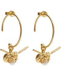 Alex Monroe Gold-plated Flying Bee Pearl Hoop Earrings - Metallic