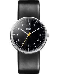 Braun Classic Stainless Steel Leather Strap Watch - Black