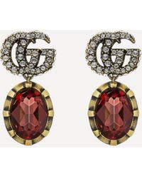 Gucci Double G Marmont Crystal Pendant Earrings - Metallic