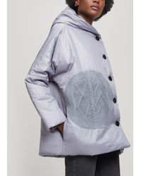 Crea Concept Oversized Button-up Puffer Coat - Gray
