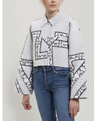 Ganni - Elkheart Scarf Print Quilted Cotton Jacket - Lyst