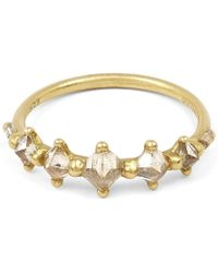 Polly Wales - Gold Five Princess Cut Diamond Halo Ring - Lyst