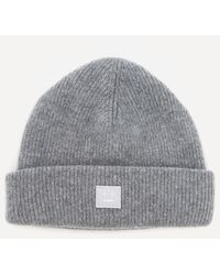 Acne Studios Pansy Face Wool Beanie - Grey