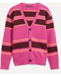 Acne Studios Face Stripe Cardigan - Pink