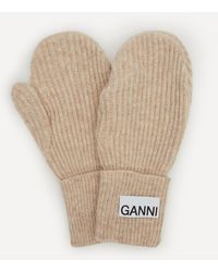 Ganni Recycled Wool-blend Mitten Gloves - Natural