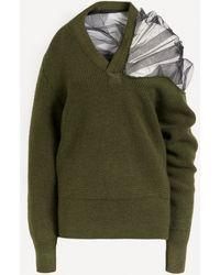 Maison Margiela Tulle Shoulder V-neck Knit - Green