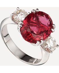 Kojis White Gold Pink Tourmaline And Diamond Ring - Metallic