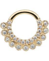 "Maria Tash 5/16"" Cubic Zirconia Aspara Hoop Earring - Metallic"