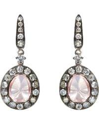 Annoushka - 18ct White Gold Dusty Diamonds Rose Quartz Drop Earrings - Lyst 5ba3f66f841