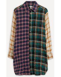 Loewe Multi-check Cotton Long Shirt - Blue
