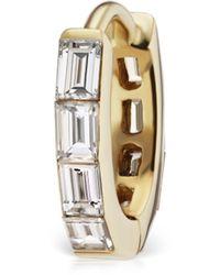 Maria Tash 6.5mm Invisible Set Baguette Diamond Eternity Hoop Earring - Metallic