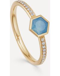 Astley Clarke Gold Plated Vermeil Silver Mini Deco Blue Agate And White Sapphire Ring - Metallic