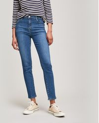 J Brand Ruby 30 Crop High Rise Cigarette Jeans - Blue