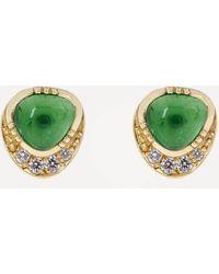 Brooke Gregson Orbit Emerald Halo Stud Earrings - Metallic
