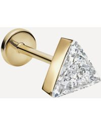 Maria Tash 18ct 5mm Invisible Set Triangle Diamond Single Threaded Stud Earring - Metallic