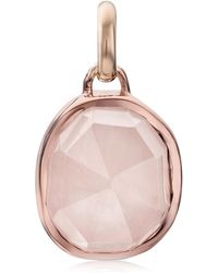 Monica Vinader Rose Gold Plated Vermeil Silver Siren Medium Rose Quartz Bezel Pendant - Pink