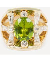 Kojis Gold Peridot And Diamond Cocktail Ring - Metallic