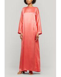 BERNADETTE Katy Silk-satin Boat-neck Dress - Pink