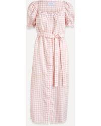 Sleeper Brigitte Puff-sleeve A-line Linen Dress - Pink