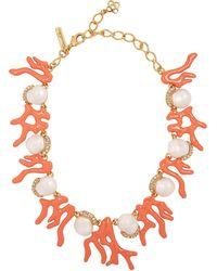 Oscar de la Renta - Gold-tone Crystal Coral Necklace - Lyst