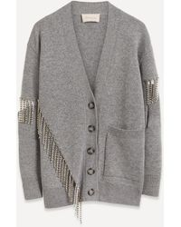 Christopher Kane Crystal Chain Cut-out Wool Cardigan - Gray