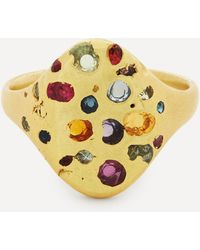 Polly Wales 18ct Gold Rainbow Baguette Sapphire Signet Ring - Metallic