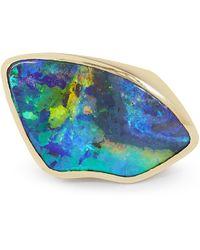 Kojis Gold Black Opal Ring - Metallic