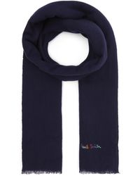 Paul Smith Logo Embroidered Wool-blend Scarf - Blue