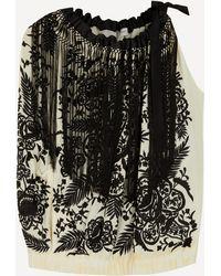 Dries Van Noten Floral Embroidered One Sleeve Top - Black