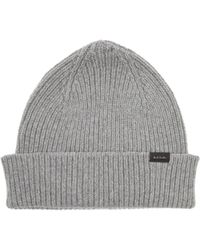 Paul Smith Ribbed Cashmere-blend Beanie Hat - Grey