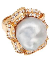 Kojis - Gold Baroque Pearl And Diamond Cluster Ring - Lyst