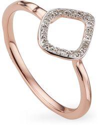 Monica Vinader Rose Gold Plated Vermeil Silver Riva Mini Kite Diamond Stacking Ring - Metallic