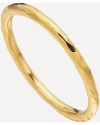 Monica Vinader Gold Plated Vermeil Silver Siren Hammered Ring - Metallic