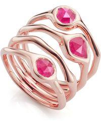 Monica Vinader - Rose Gold Vermeil Siren Cluster Pink Quartz Cocktail Ring - Lyst