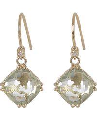 Suzanne Kalan - Gold Green Amethyst Diamond Drop Earrings - Lyst