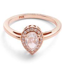Anna Sheffield - Rose Gold Pear White Diamond Rosette Ring - Lyst