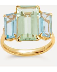 Dinny Hall Gold Plated Vermeil Silver Trinny Trilogy Green Amethyst And Blue Topaz Ring - Metallic