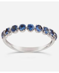 Dinny Hall White Gold Elyhara Blue Sapphire Half Eternity Ring