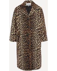 Ganni Leopard Linen-canvas Coat - Multicolour